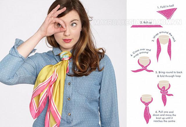 Cách thắt cà vạt nữ đẹp bằng khăn quàng